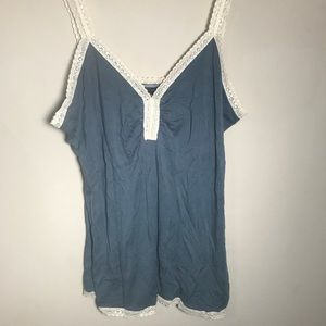 Banana Republic Blue and Cream Lace Tank Top